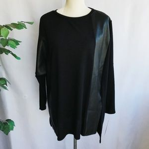 Used, IC by Connie K Tunic Black Faux Leather Sz LargeNWT for sale